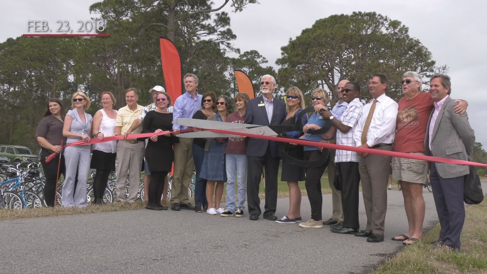 The ribbon cutting at the opening of a large section of trail in Titusville, FL.
