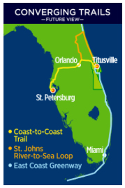 Map of the 3 major bike/walk trails that converge in Titusville, Florida