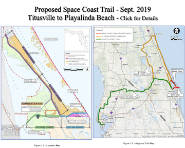 Maps of proposed Titusville to Playalinda bike trail.
